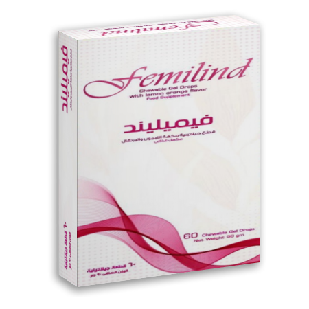 Femilind - Chewable Gel Drops with lemon orange flavor.